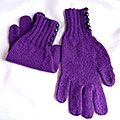 purple gloves with button cuffs
